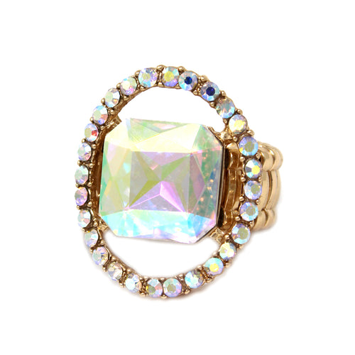 Paved Frame With Square Glass Stone Stretch Ring