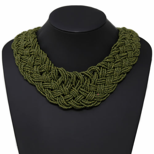 Seed Beaded Braided Short Collar Necklace