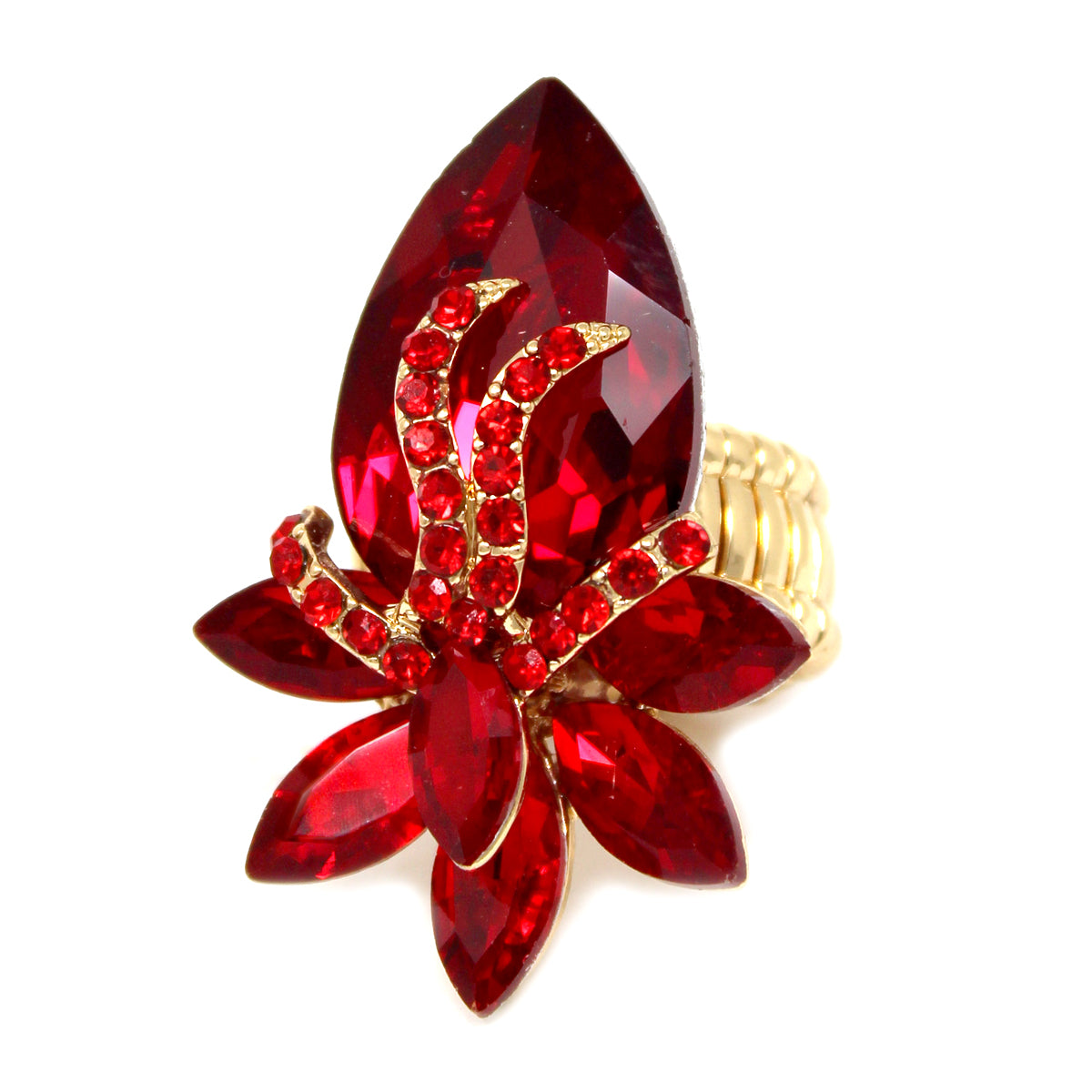 Floral Glass Stone Cluster Stretch Ring