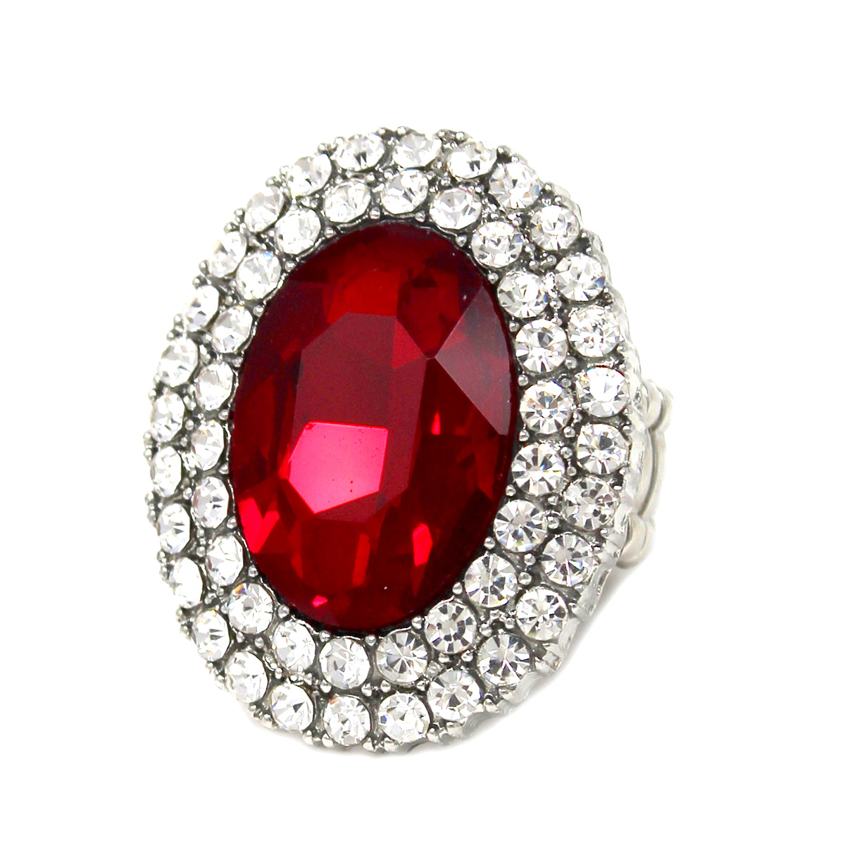 Oval Shape Glass Stone Pave Stretch Ring