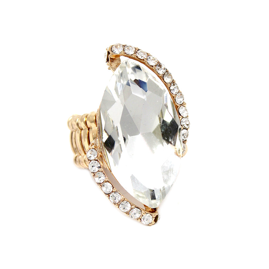 Rhinestone Paved Marquise Shape Stretch Ring