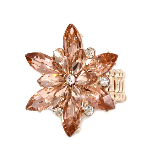 Marquise Glass Stone Pave Flower Stretch Ring