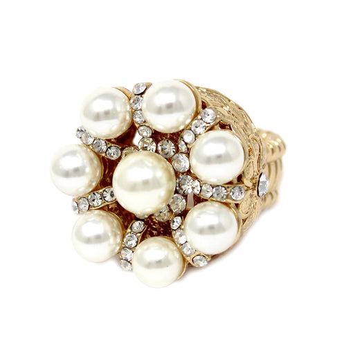 Pearl Bead Rhinestone Pave Stretch Ring