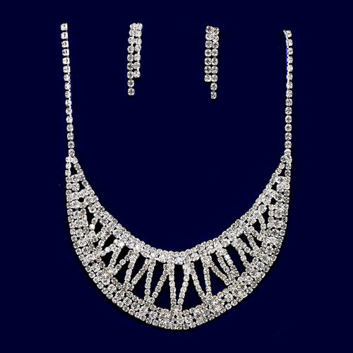 Rhinestone Pave Bib Necklace Set