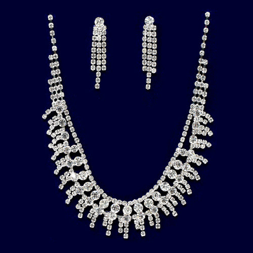 Rhinestone Fringe Collar Necklace Set