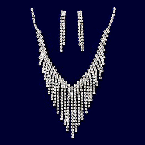 Rhinestone Fringe Bib Necklace Set