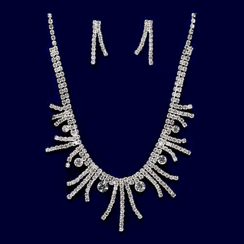 Rhinestone Curved Bar Collar Necklace Set
