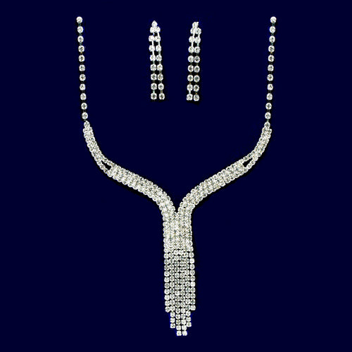 Rhinestone Fringe Y-Necklace Set