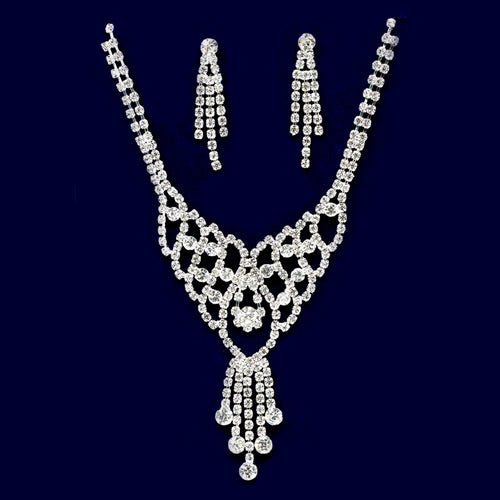 Rhinestone Lace With Fringe Necklace Set