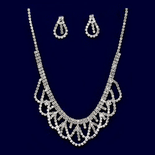 Rhinestone Scallop Drape Necklace Set