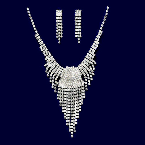 Rhinestone Fringe Necklace Set