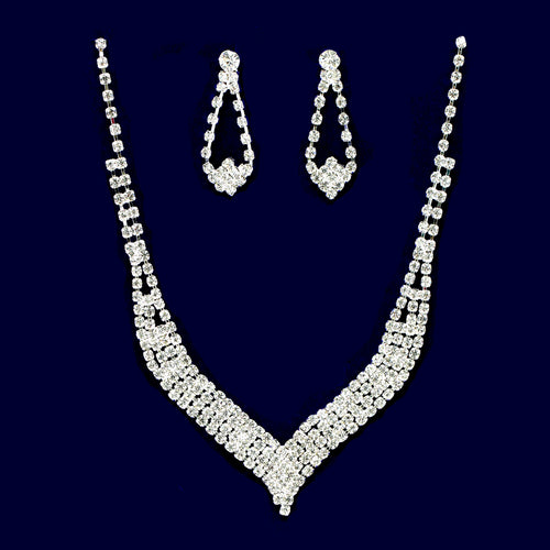 Rhinestone Pave V-Shape Necklace Set