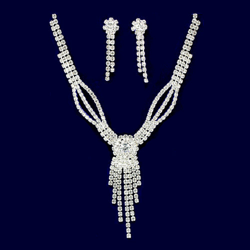 Rhinestone Pave Flower With Fringe Necklace Set