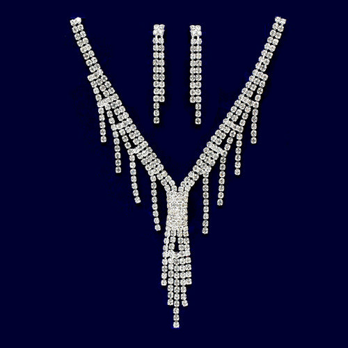 Rhinestone Fringe Y- Shape Necklace Set