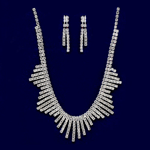 Rhinestone Bar Collar Necklace Set
