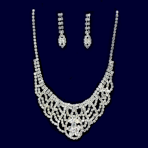 Rhinestone Lace Bib Necklace Set