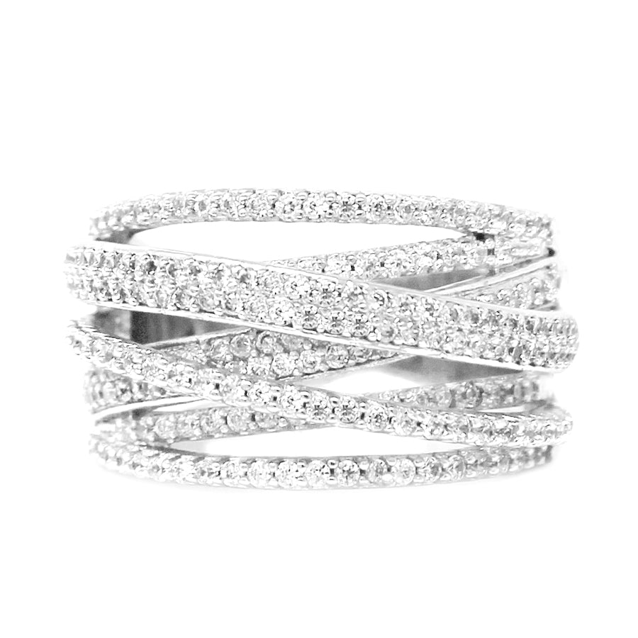 Cubic Zirconia Pave Bar Multi Layered Ring