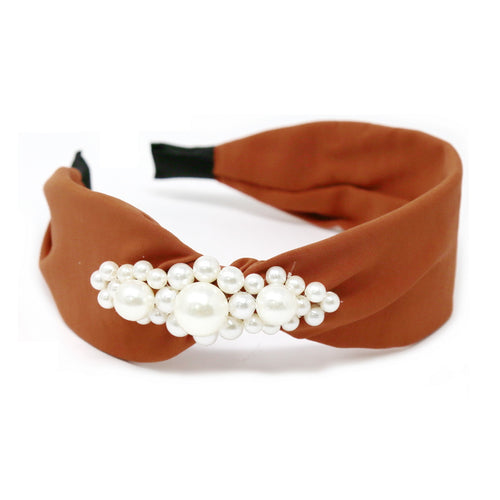 Triple Pearl Flower Embellished Fabric Headband