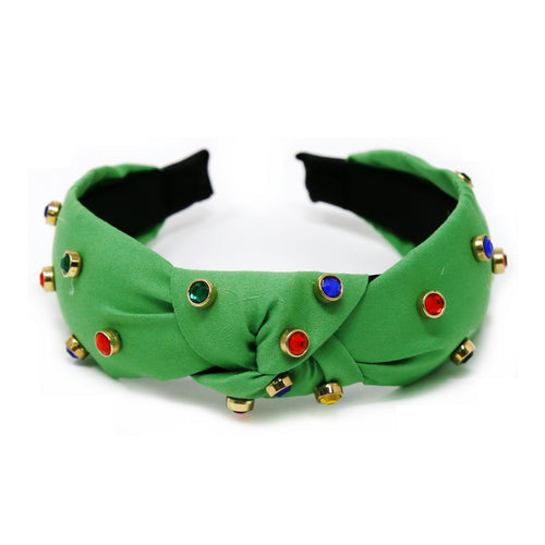 Multi Color Glass Stone Embellished Front Knot Headbeand
