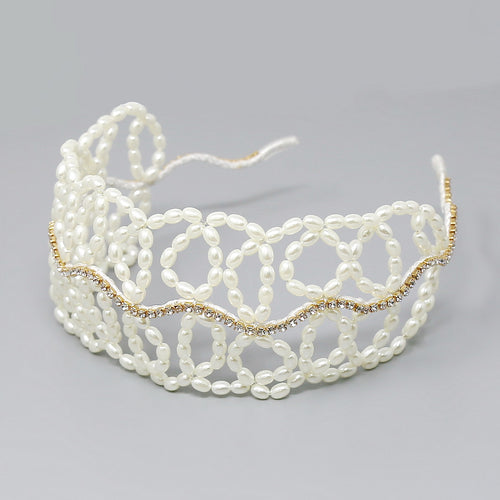 Bendable Pearl Beaded Wire Headband