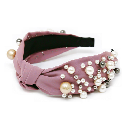 Pearl And Metal Ball Embellished Front Knot Headband