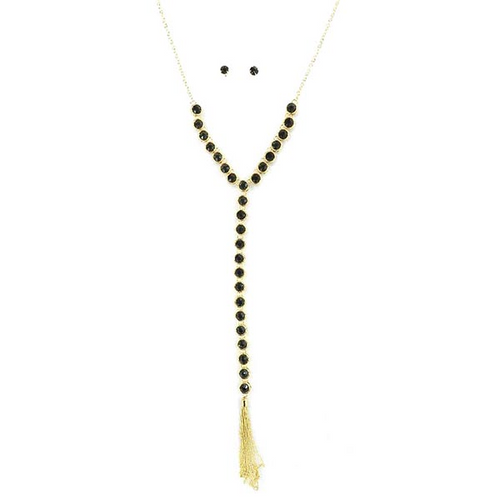 New COLOR Added! Glass Y Chain and Metal Tassel Necklace