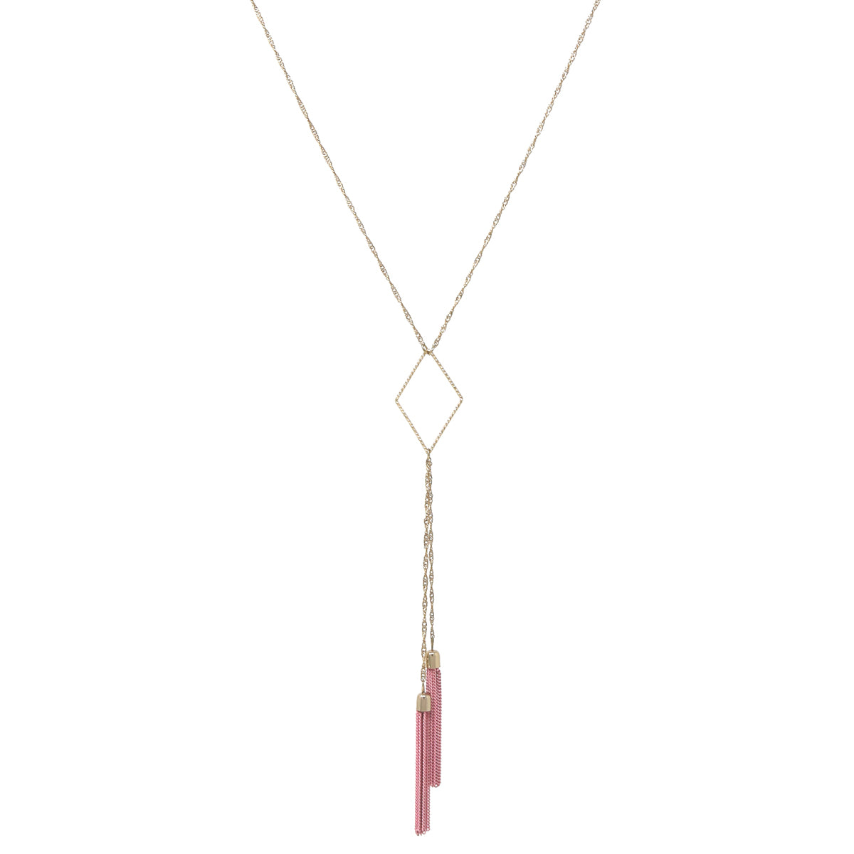 Rhombus Hoop Pendant Color Chain Tassel Drop Necklace