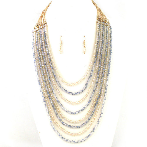 New Color Added - Color Gradated Multi Strands Glass Beads Necklace