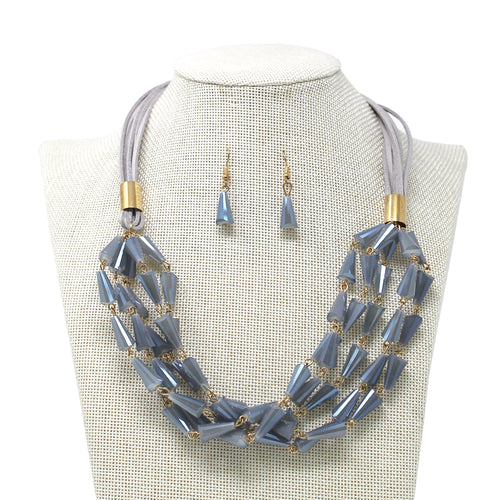 Cone Glass Beaded Multi Layered Short Necklace