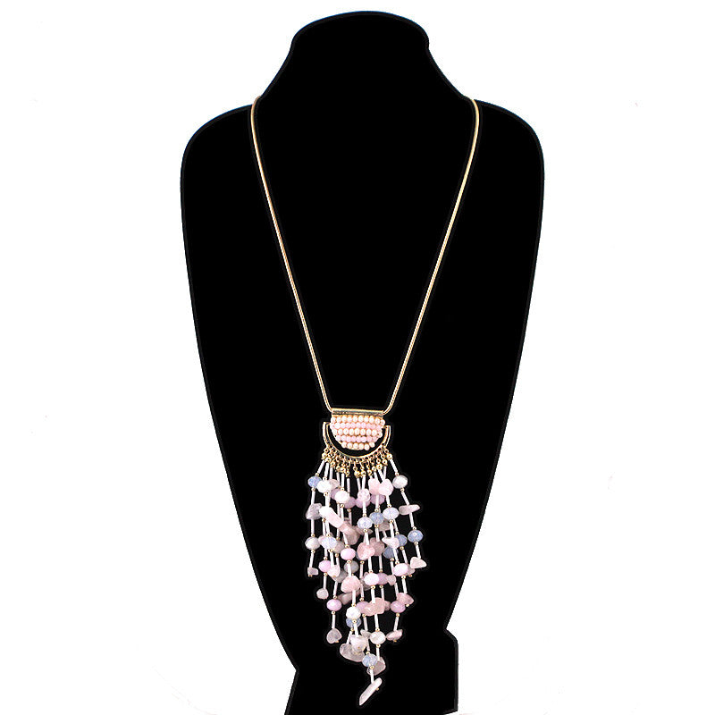 Pebble Hanged Tassel Bohemian Long Necklace