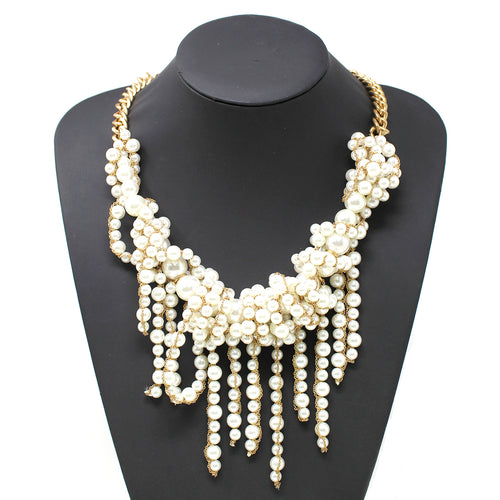 Chain Wrapped Pearl Bead Fringe Statement Necklace