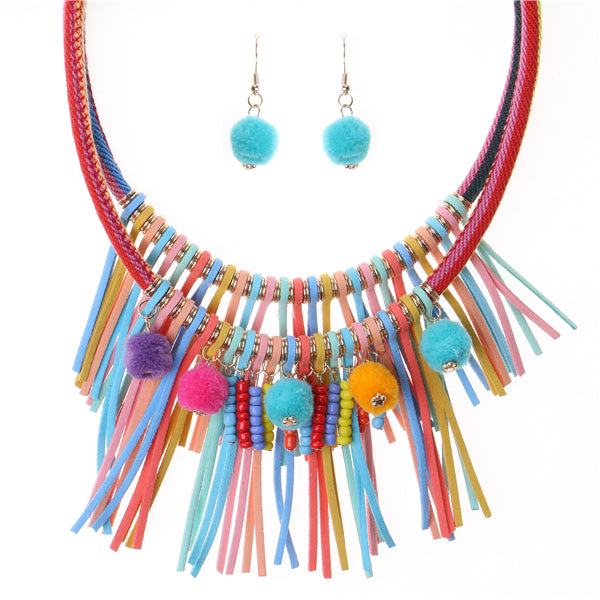 Colorful Pompom and Thread Tassel Statement Necklace