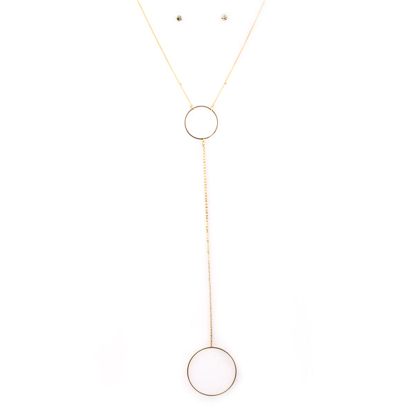 Geometric Pendant Y Chain Long Necklace