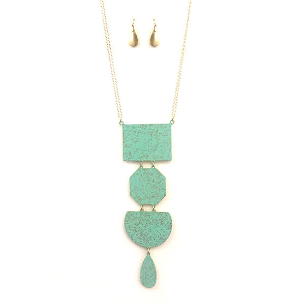 Geometric Plate Y Chain Necklace