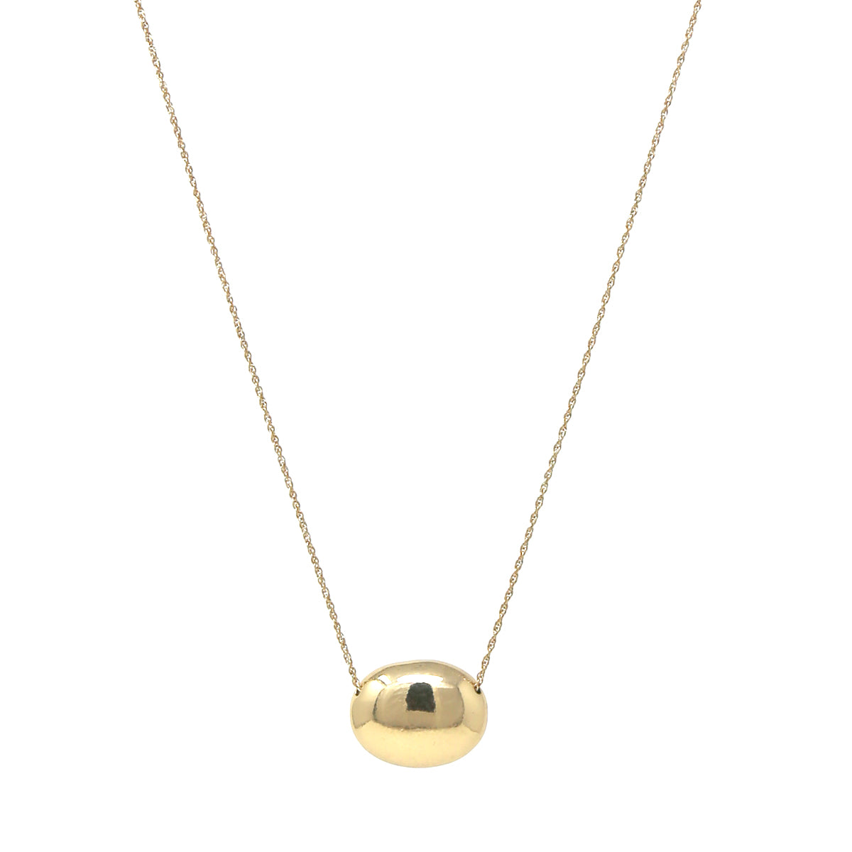 Oval Shape Metal Pendant Long Necklace