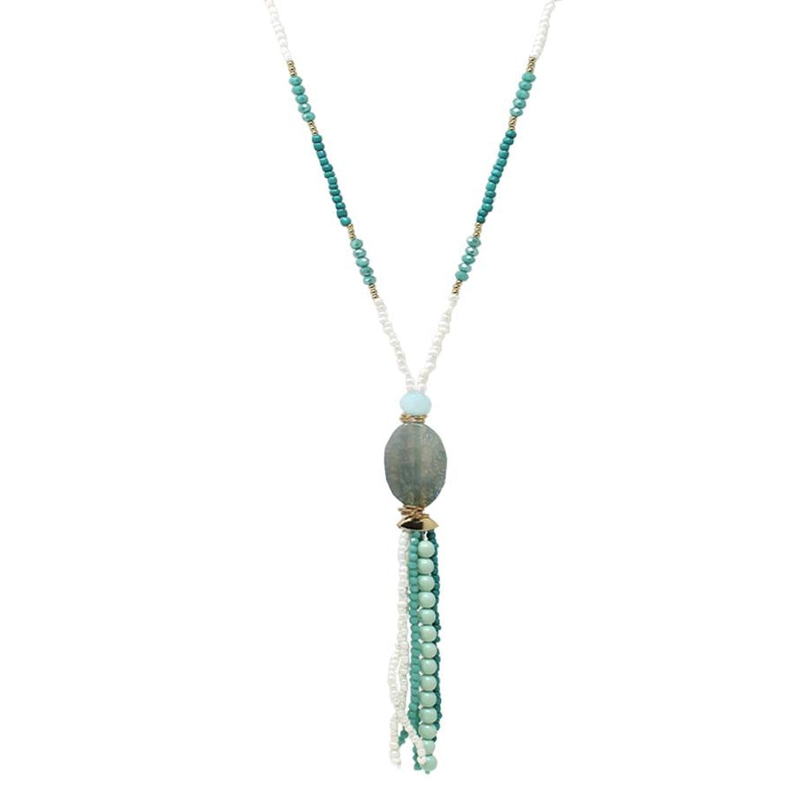Natural Stone Pendant Beaded Tassel Drop Long Necklace