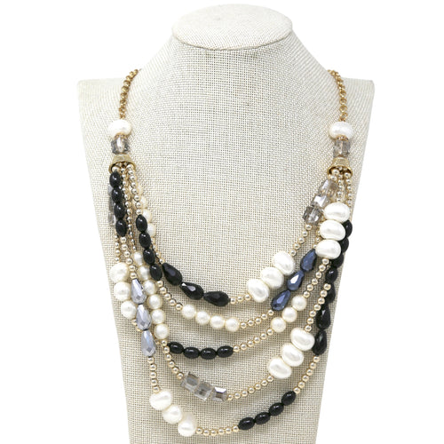 Bean Shaped Pearl Glass Multi Beads Layered Cord Necklace