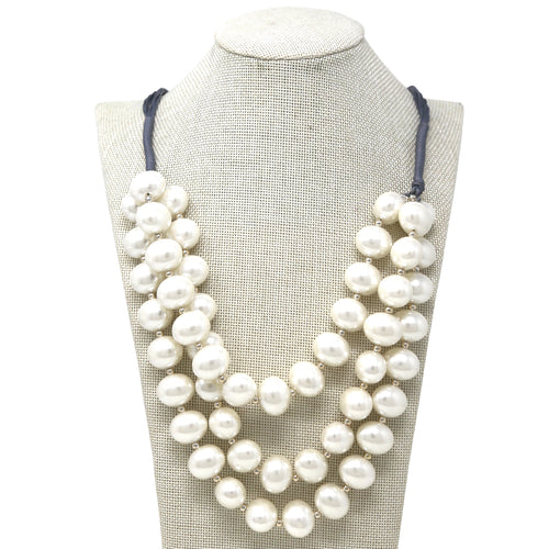 Pearl Beaded Layered Cord Short Necklace