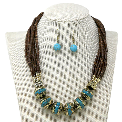 Turquoise And Wood Beaded Multi Strand Short Necklace
