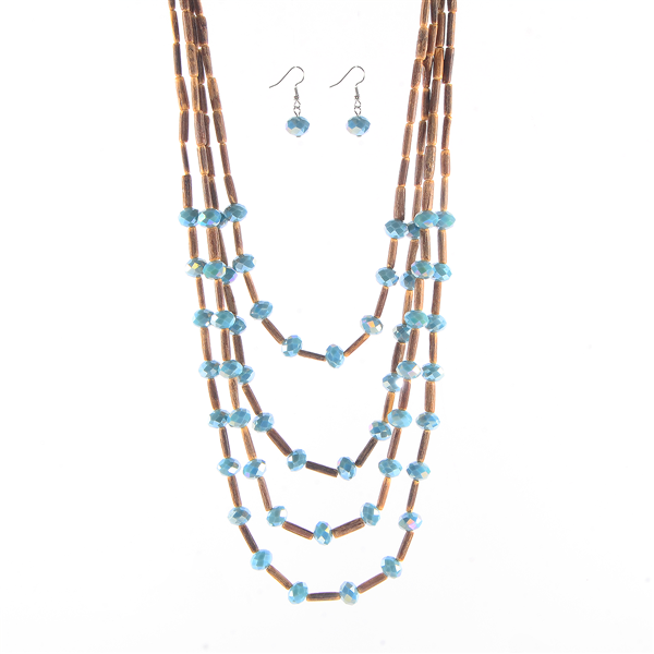 Glass Beads Multi Layered Necklace