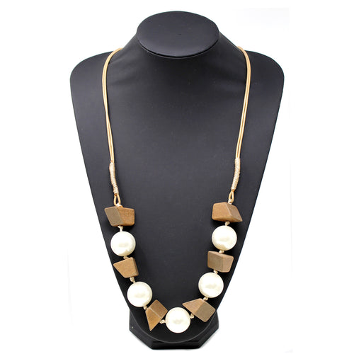 Chunky Pearl Bead With Wood Beaded Long Necklace