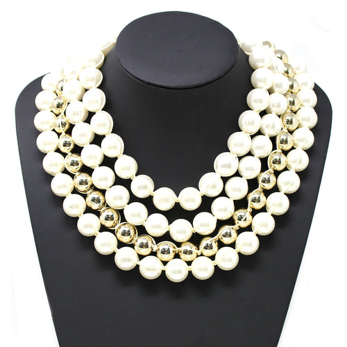 Thread Wrapped Pearl With Metal Ball Beaded Multi Row Statement Necklace