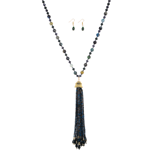 Seed Beads Tassel Long Necklace