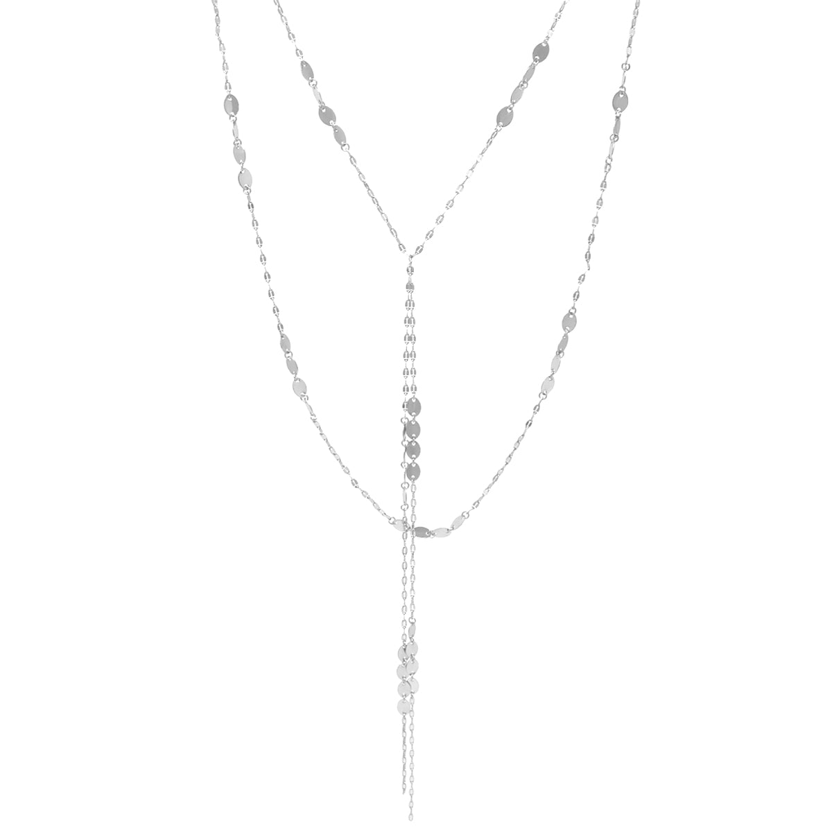 Oval Metal Disc Linked Chain Fringe Layered Necklace