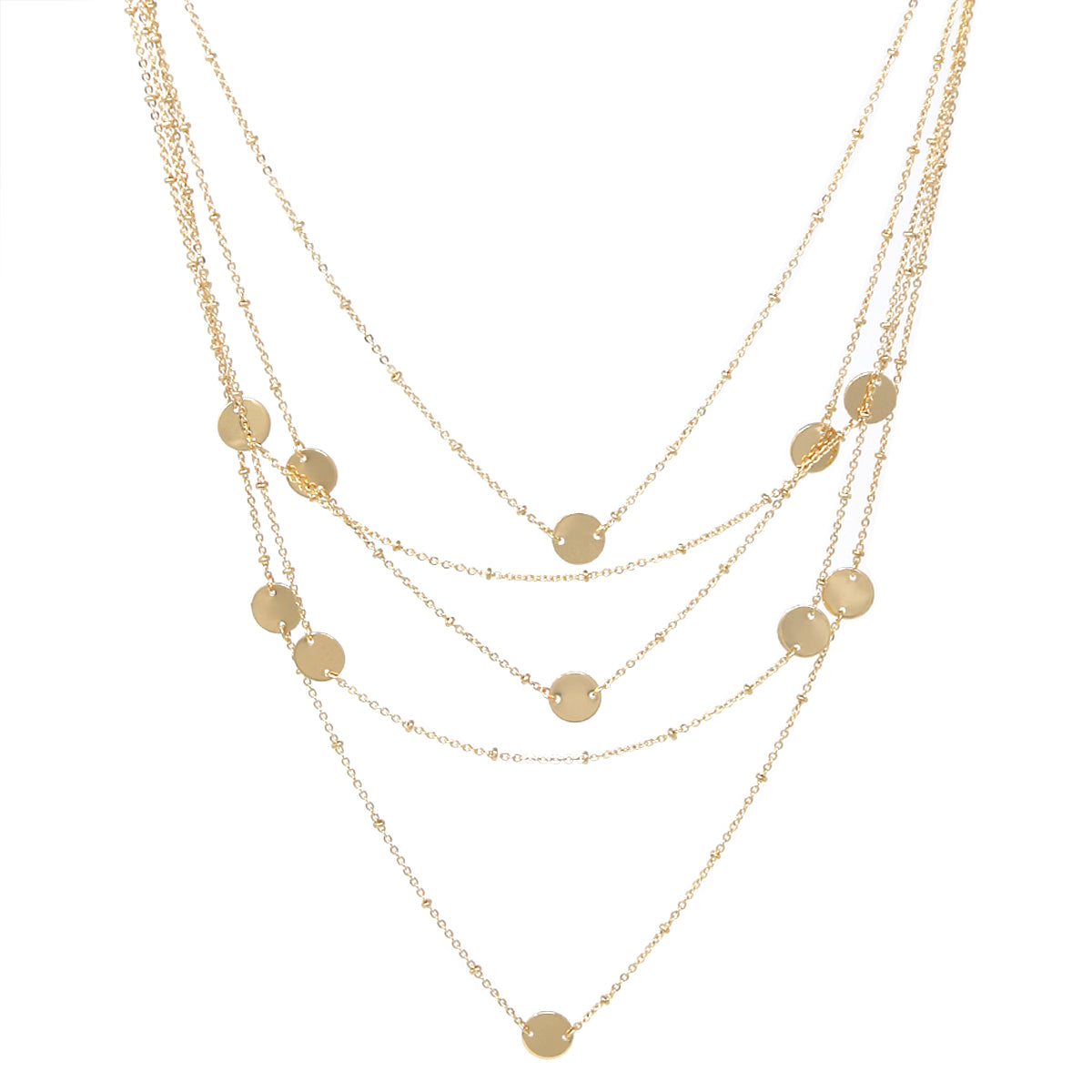Metal Disc Floating Multi Layered Necklace