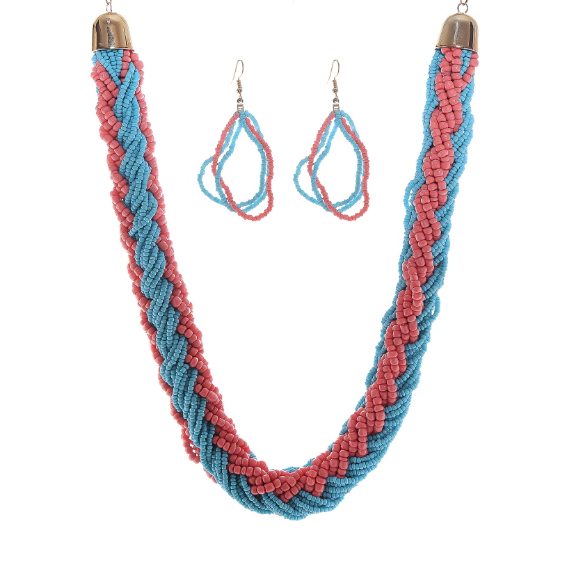 Multi Strand Bead Bib Necklace Set