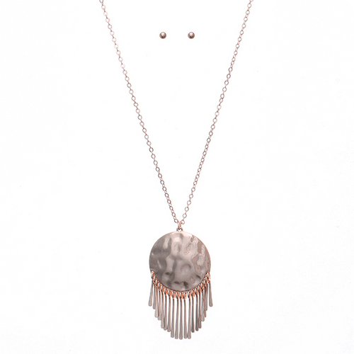Geometric Metal Pendant Long Necklace