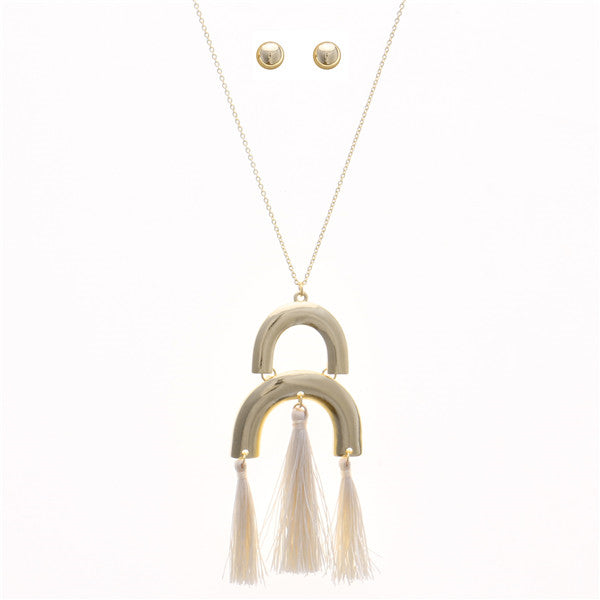 Geometric Double Arch Long Tassel Necklace