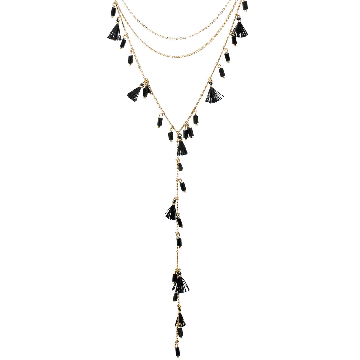 Tassel With Glass Bead Dangle Multi Layered Y- Shape Necklace