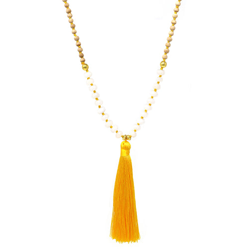 Tassel Pendant Wood Natural Stone Beaded Long Necklace